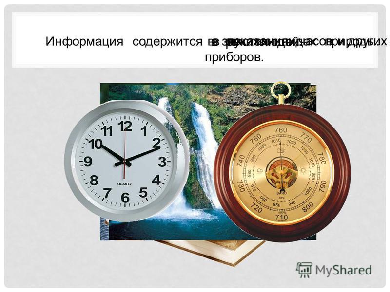 Информация содержится в показаниях часов и других приборов. в звуках и видах природы. в текстах книг. в речи людей.