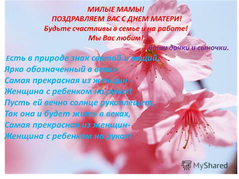 Поздравление для всех мам с днём матери в стихах 566