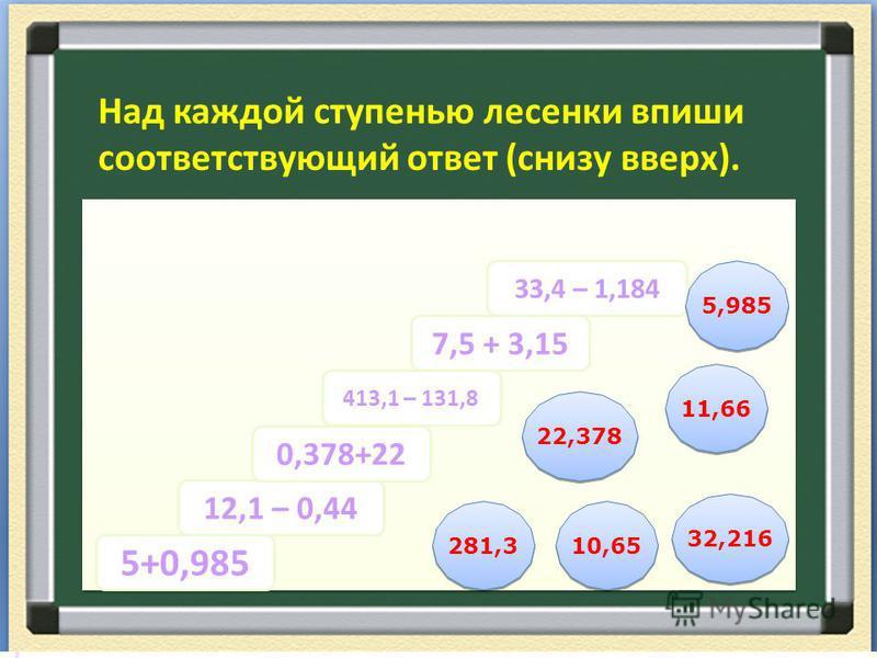 Реши самостоятельно: 2,1 + 1,36 = 7,3 + 0,668= 0,55 + 0,668= 13,0+ 19,3 = 1,27 + 24,3 = 63,5 +0,635= 3,46 7,968 1,218 32,3 25,57 64,135