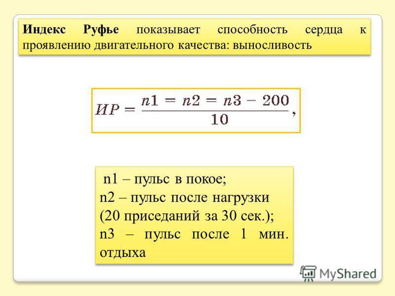 n1 – пульс в покое; n2 – пульс после нагрузки (20 приседаний за 30 сек.); n3 – пульс после 1 мин. отдыха n1 – пульс в покое; n2 – пульс после нагрузки (20 приседаний за 30 сек.); n3 – пульс после 1 мин. отдыха Индекс Руфье показывает способность серд