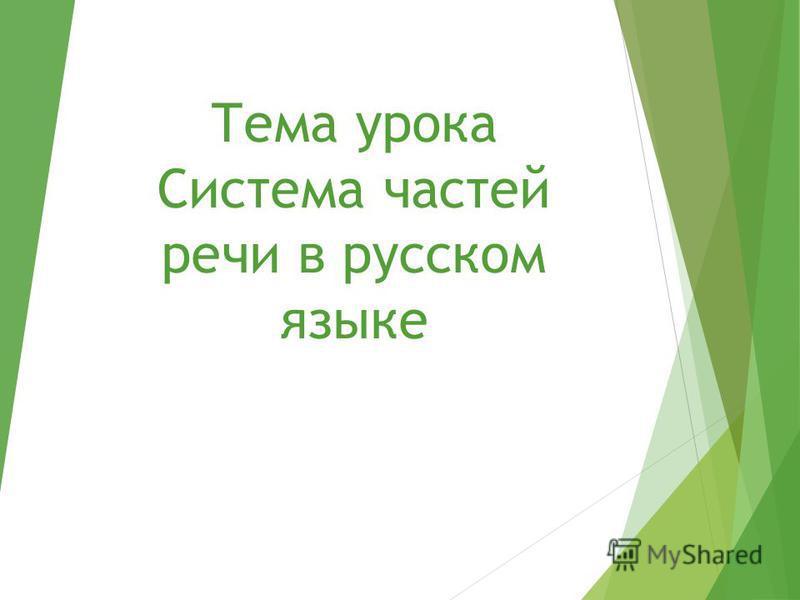 Тема урока Система частей речи в русском языке