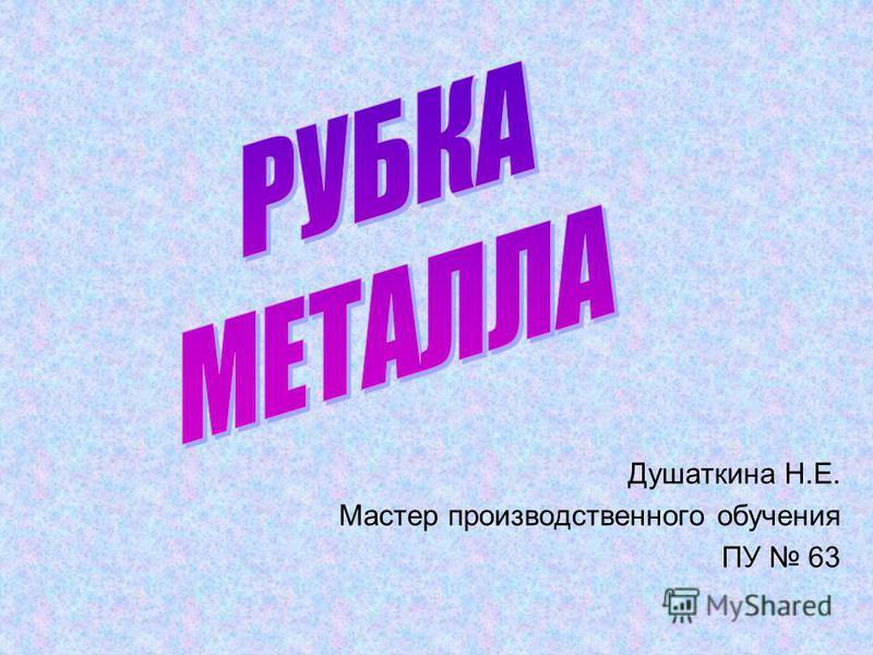 Душаткина Н.Е. Мастер производственного обучения ПУ 63