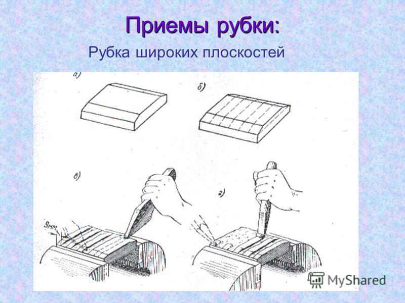 Приемы рубки: Рубка широких плоскостей