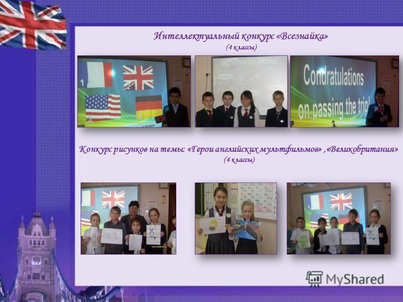 Интеллектуальный конкурс «Всезнайка» (4 классы) Конкурс рисунков на темы: «Герои английских мультфильмов»,«Великобритания» (4 классы)