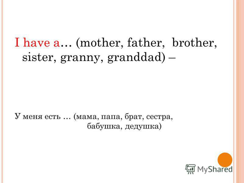 I have a… (mother, father, brother, sister, granny, granddad) – У меня есть … (мама, папа, брат, сестра, бабушка, дедушка)