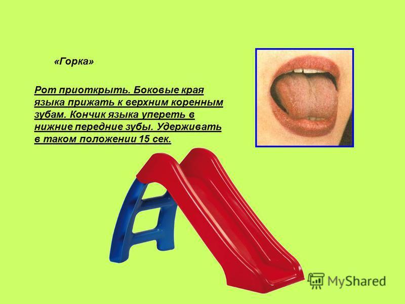 «Горка» Рот приоткрыть. Боковые края языка прижать к верхним коренным зубам. Кончик языка упереть в нижние передние зубы. Удерживать в таком положении 15 сек.