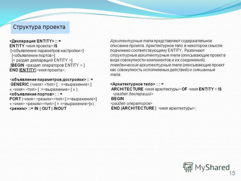 Структура проекта 15 :: = ENTITY IS [ ] [BEGIN ] END [ENTITY] ; :: = GENERIC ( : [ : = ] «; : [ := ] » ); : : = PORT ( : [:= ] «; : [:= = ]») ; ::= IN   OUT   INOUT Архитектурные тела представляют содержательное описание проекта. Архитектурное тело в