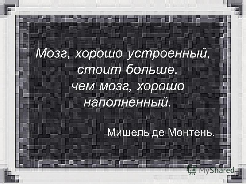 Мозг, хорошо устроенный, стоит больше, чем мозг, хорошо наполненный. Мишель де Монтень.