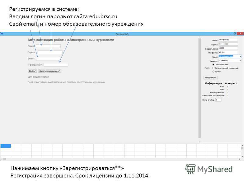 Регистрируемся в системе: Вводим логин пароль от сайта edu.brsc.ru Свой email, и номер образовательного учреждения Нажимаем кнопку «Зарегистрироваться**» Регистрация завершена. Срок лицензии до 1.11.2014.