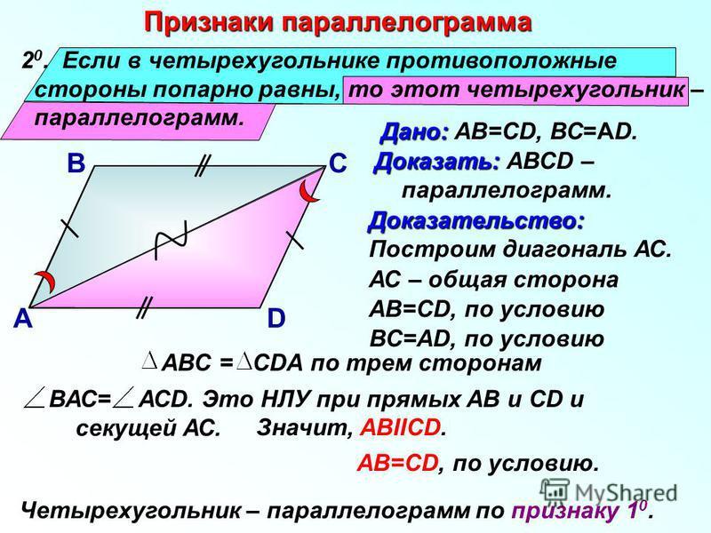 2 0. Если в четырехугольнике противоположные стороны попарно равны, то этот четырехугольник – параллелограмм. Признаки параллелограмма Дано: Дано: АВ=СD, ВС=АD. В А С D АС – общая сторона Доказательство: Построим диагональ АС. АВ=СD, по условию АВС =
