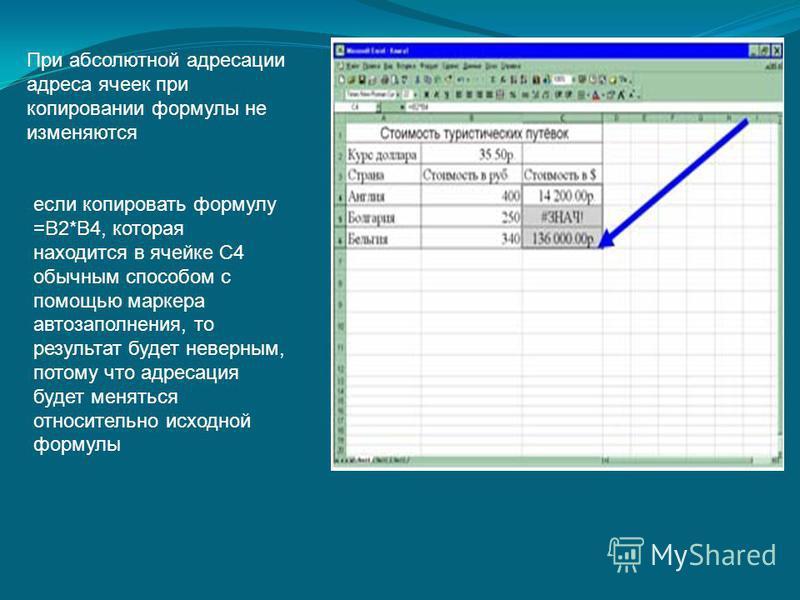 При абсолютной адресации адреса ячеек при копировании формулы не изменяются если копировать формулу =В2*В4, которая находится в ячейке С4 обычным способом с помощью маркера автозаполнения, то результат будет неверным, потому что адресация будет менят