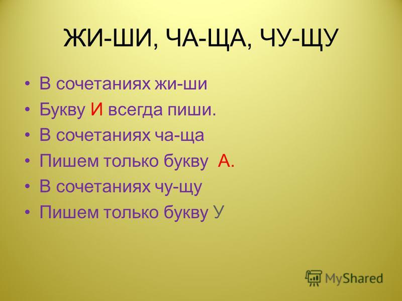 ЖИ-ШИ, ЧА-ЩА, ЧУ-ЩУ В сочетаниях жи-ши Букву И всегда пиши. В сочетаниях ча-ща Пишем только букву А. В сочетаниях чу-щу Пишем только букву У