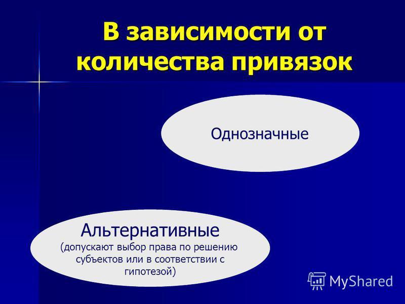 В зависимости от количества привязок Альтернативные (допускают выбор права по решению субъектов или в соответствии с гипотезой) Однозначные