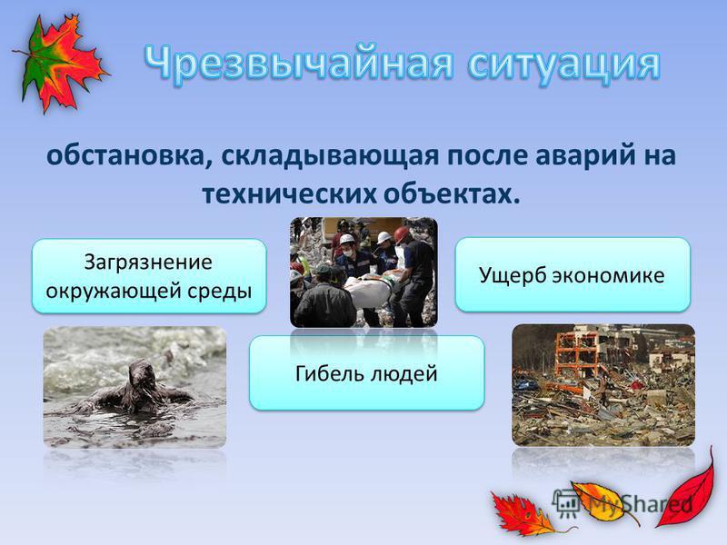 обстановка, складывающая после аварий на технических объектах. Загрязнение окружающей среды Гибель людей Ущерб экономике