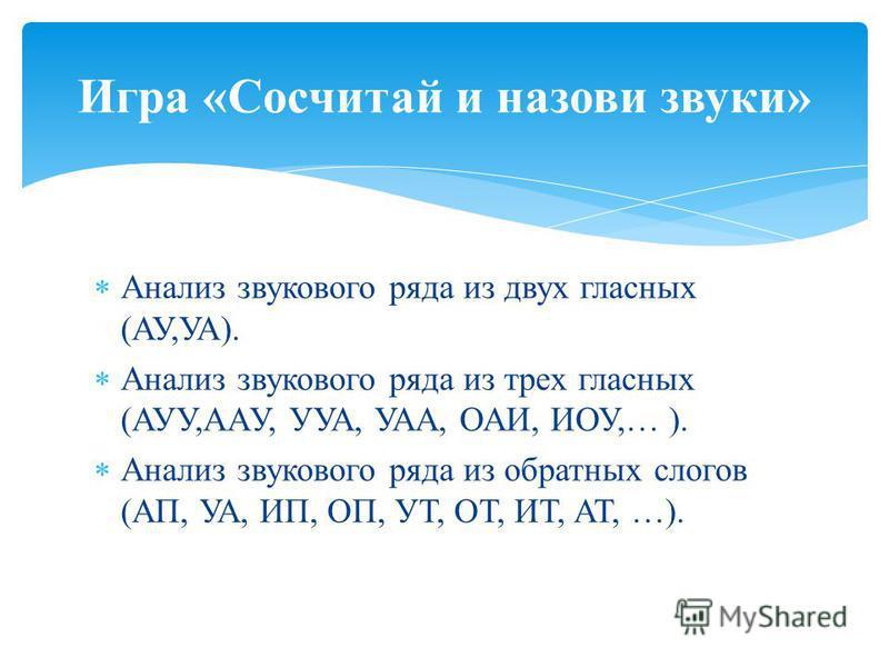 Анализ звукового ряда из двух гласных (АУ,УА). Анализ звукового ряда из трех гласных (АУУ,ААУ, УУА, УАА, ОАИ, ИОУ,… ). Анализ звукового ряда из обратных слогов (АП, УА, ИП, ОП, УТ, ОТ, ИТ, АТ, …). Игра «Сосчитай и назови звуки»