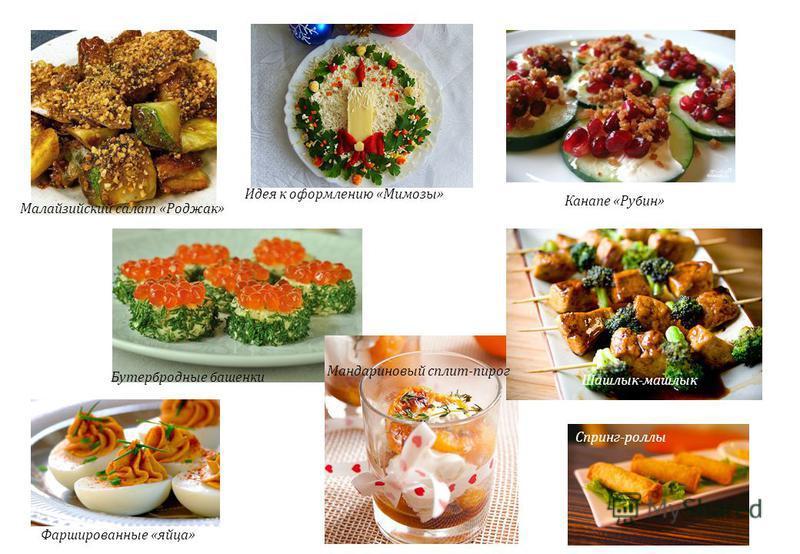 Малайзийский салат «Роджак» Бутербродные башенки Фаршированные «яйца» Идея к оформлению «Мимозы» Мандариновый сплит-пирог Спринг-роллы Шашлык-машлык Канапе «Рубин»