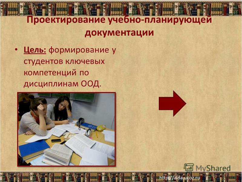 Проектирование учебно-планирующей документации Цель: формирование у студентов ключевых компетенций по дисциплинам ООД. 06.03.20156