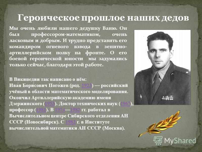 В Википедии так написано о нём: Ива́н Бори́сович Пого́жев (род. 1923) российский учёный в области математического моделирования.1923 Окончил Артиллерийскую академию имени Дзержинского (1953). Доктор технических наук (1967), профессор (1981). В 197419