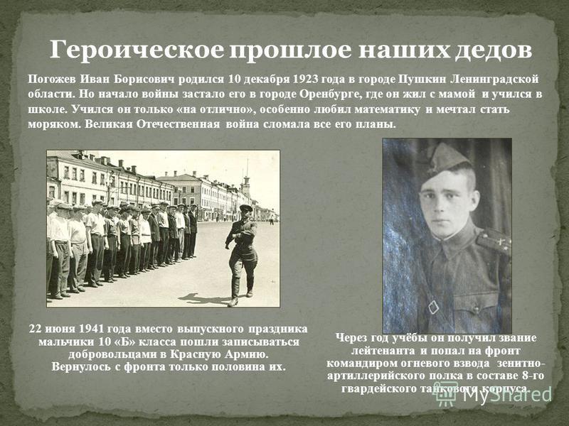 Героическое прошлое наших дедов 22 июня 1941 года вместо выпускного праздника мальчики 10 «Б» класса пошли записываться добровольцами в Красную Армию. Вернулось с фронта только половина их. Погожев Иван Борисович родился 10 декабря 1923 года в городе