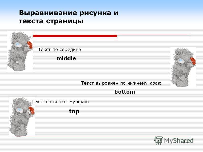22 Текст по середине middle Текст по верхнему краю top Текст выровнен по нижнему краю bottom Выравнивание рисунка и текста страницы