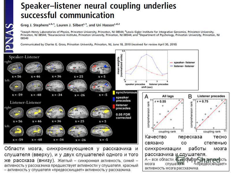 Качество пересказа тесно связано со степенью синхронизации работы мозга рассказчика и слушателя. A – все области, B – области, где активность мозга слушателя «предвосхищает» активность мозга рассказчика. Области мозга, синхронизующиеся у рассказчика