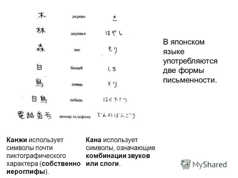 В японском языке употребляются две формы письменности. Канжи использует символы почти пиктографического характера (собственно иероглифы). Кана использует символы, означающие комбинации звуков или слоги.