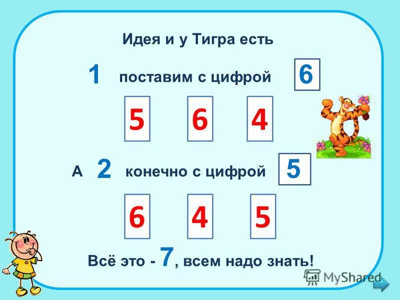 Идея и у Тигра есть 1 поставим с цифрой 654 6 А 2 конечно с цифрой 5 Всё это - 7, всем надо знать! 546