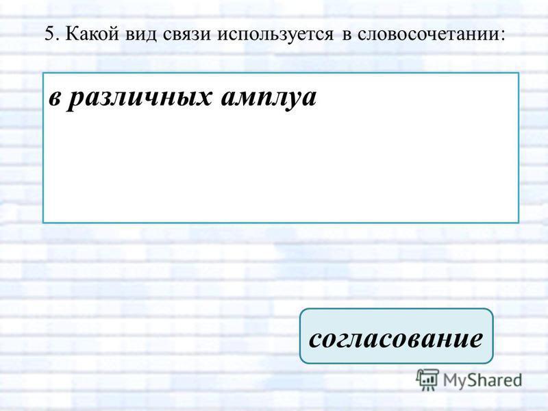 5. Какой вид связи используется в словосочетании: в различных амплуа согласование