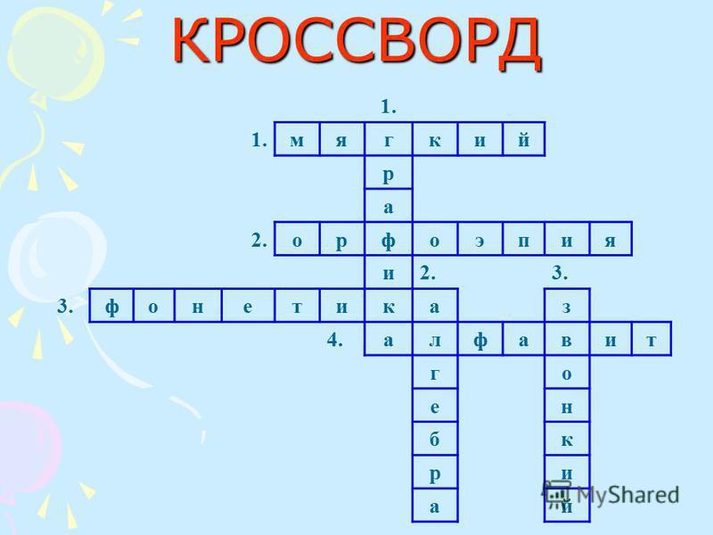 КРОССВОРД 1. мягкий р а 2. орфоэпия и 3. фонетиказ 4. алфавит го он бк при ай