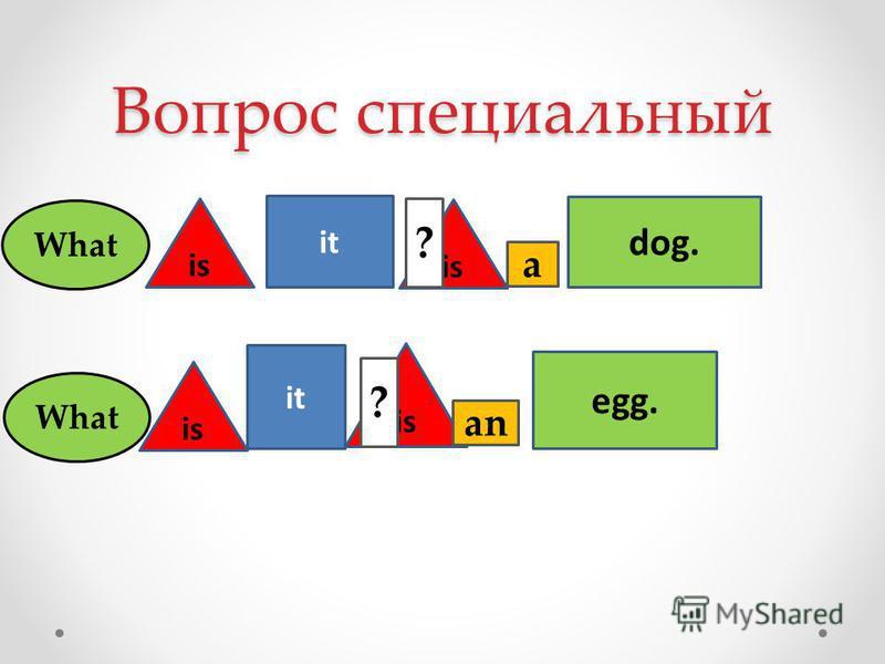 Вопрос специальный it is dog. egg. is ? ? What a an