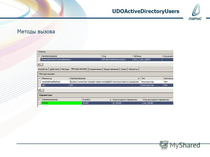 Методы вызова UDOActiveDirectoryUsers