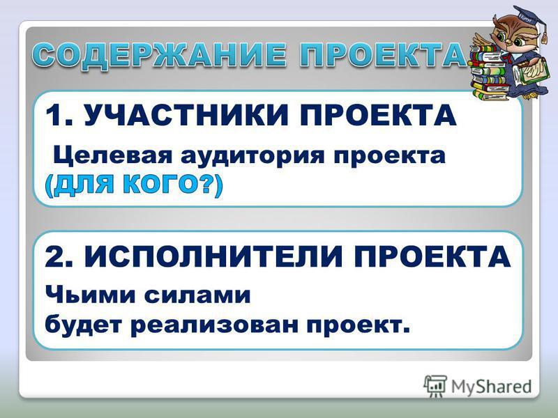 2. ИСПОЛНИТЕЛИ ПРОЕКТА Чьими силами будет реализован проект.