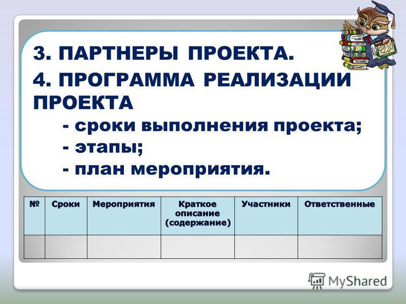 3. ПАРТНЕРЫ ПРОЕКТА. 4. ПРОГРАММА РЕАЛИЗАЦИИ ПРОЕКТА - сроки выполнения проекта; - этапы; - план мероприятия.