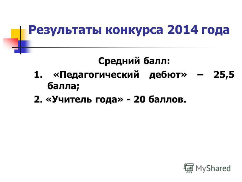 Результаты конкурса 2014 года Средний балл: 1. «Педагогический дебют» – 25,5 балла; 2. «Учитель года» - 20 баллов.