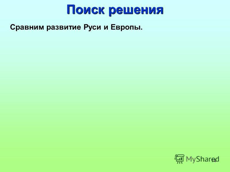 14 Поиск решения Сравним развитие Руси и Европы.