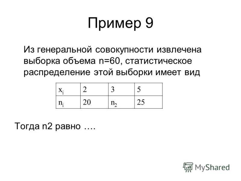 Пример 9 Из генеральной совокупности извлечена выборка объема n=60, статистическое распределение этой выборки имеет вид Тогда n2 равно …. xixi 235 nini 20n2n2 25