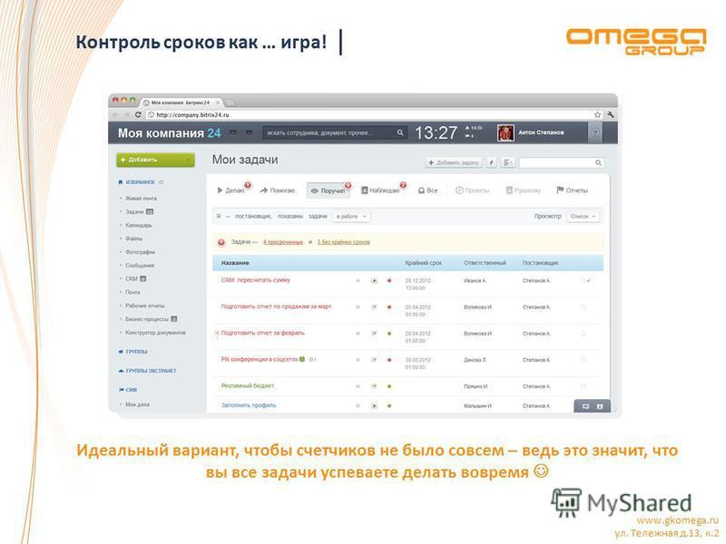 www.gkomega.ru ул. Тележная д.13, к.2 Контроль сроков как … игра! Идеальный вариант, чтобы счетчиков не было совсем – ведь это значит, что вы все задачи успеваете делать вовремя