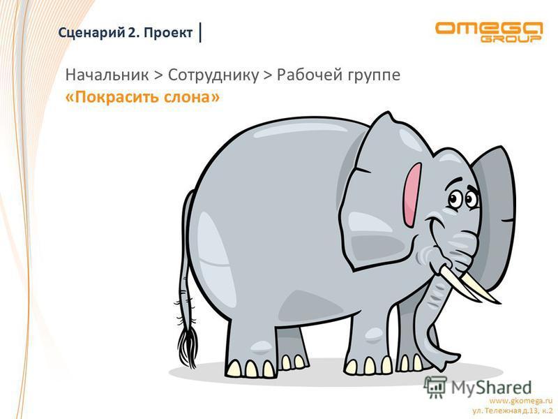 www.gkomega.ru ул. Тележная д.13, к.2 Начальник > Сотруднику > Рабочей группе «Покрасить слона» Сценарий 2. Проект