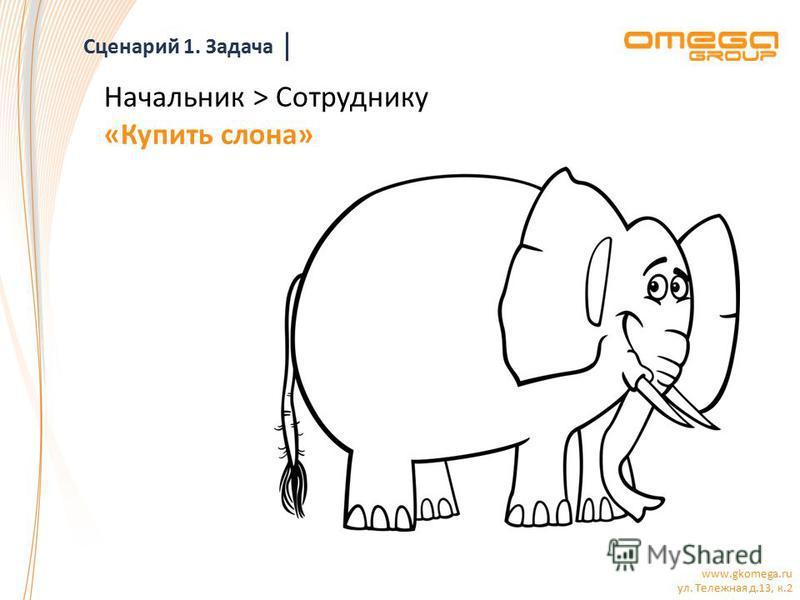 www.gkomega.ru ул. Тележная д.13, к.2 Начальник > Сотруднику «Купить слона» Сценарий 1. Задача