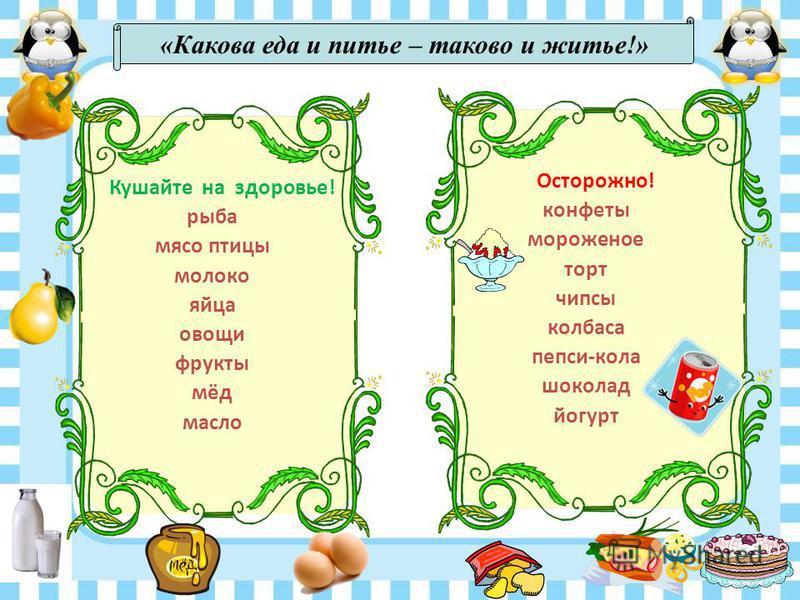 Кушайте на здоровье! рыба мясо птицы молоко яйца овощи фрукты мёд масло Осторожно! конфеты мороженое торт чипсы колбаса пепси-кола шоколад йогурт «Какова еда и питье – таково и житье!»