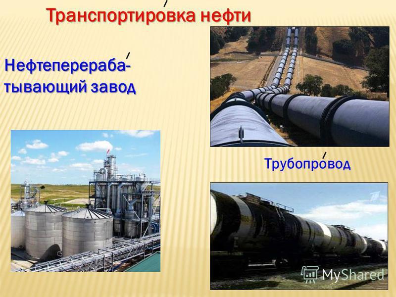 Транспортировка нефти Нефтеперераба- тывающий завод Трубопровод