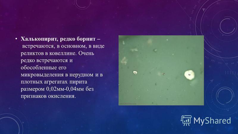 Халькопирит, редко борнит – встречаются, в основном, в виде реликтов в ковеллине. Очень редко встречаются и обособленные его микровыделения в нерудном и в плотных агрегатах пирита размером 0,02 мм-0,04 мм без признаков окисления.