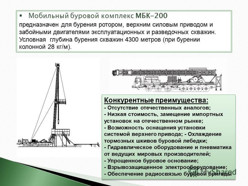 Мобильный буровой комплекс МБК-200 предназначен для бурения ротором, верхним силовым приводом и забойными двигателями эксплуатационных и разведочных скважин. Условная глубина бурения скважин 4300 метров (при бурении колонной 28 кг/м). Конкурентные пр