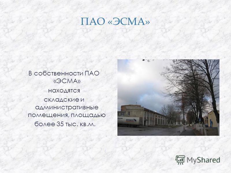ПАО «ЭСМА» В собственности ПАО «ЭСМА» находятся складские и административные помещения, площадью более 35 тыс. кв.м.