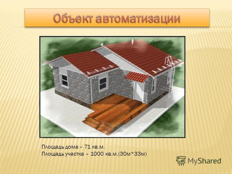 Площадь дома – 71 кв.м. Площадь участка – 1000 кв.м.(30 м*33 м)
