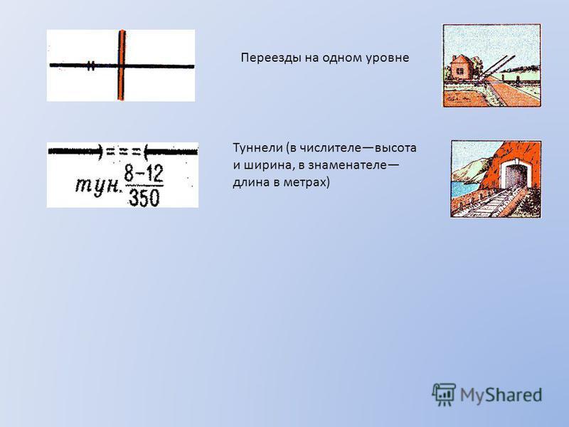 Переезды на одном уровне Туннели (в числителе высота и ширина, в знаменателе длина в метрах)