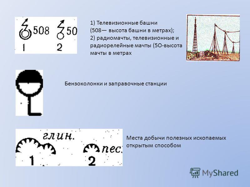 1) Телевизионные башни (508 высота башни в метрах); 2) радиомачты, телевизионные и радиорелейные мачты (5О-высота мачты в метрах Бензоколонки и заправочные станции Места добычи полезных ископаемых открытым способом