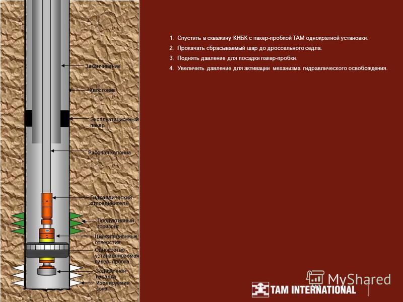 1. Спустить в скважину КНБК с пакер-пробкой TAM однократной установки. 2. Прокачать сбрасываемый шар до дроссельного седла. 3. Поднять давление для посадки пакер-пробки. 4. Увеличить давление для активации механизма гидравлического освобождения. Зака