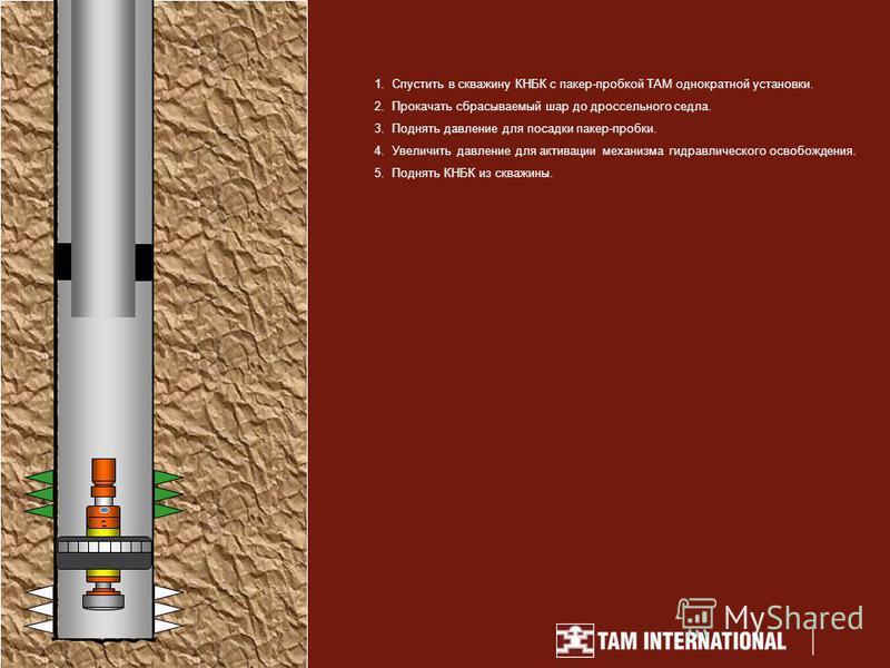 1. Спустить в скважину КНБК с пакер-пробкой TAM однократной установки. 2. Прокачать сбрасываемый шар до дроссельного седла. 3. Поднять давление для посадки пакер-пробки. 4. Увеличить давление для активации механизма гидравлического освобождения. 5. П