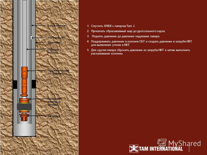 1. Спустить КНБК с пакером Tam J. 2. Прокачать сбрасываемый шар до дроссельного седла. 3. Поднять давление до давления надувания пакера. 4. Поддерживать давление в колонне СБТ и создать давление в затрубе НКТ для выявления утечки в НКТ. 5. Для студия